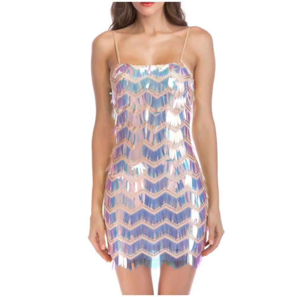 SPFAZJ 2019 New Sexy Halter Strap Sequined color Skirt Explosion Dress