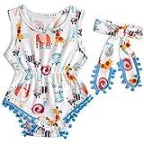 Lil Sis Donkey Snails Print Elastic Shower Romper White Bodysuit 1 Years Old