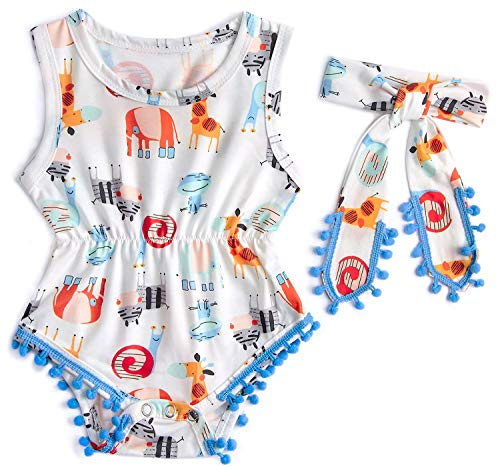 BFUSTYLE Baby Girl Giraffe Pattern Sleeveless Outdoor Comic Bodysuit + Headband White 9 Months -