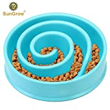 Slow Dog Feed Bowl by SunGrow - Prevents Canine Obesity - Free from BPA, PVC and Phthalate Toxic Materials - Promotes Fun, Interactive, Slow Eating - Curb Appetite, boosts Health