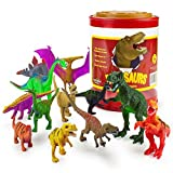 Brybelly Large Size Dinosaur Assortment with Storage Drum - Set of 12 Different