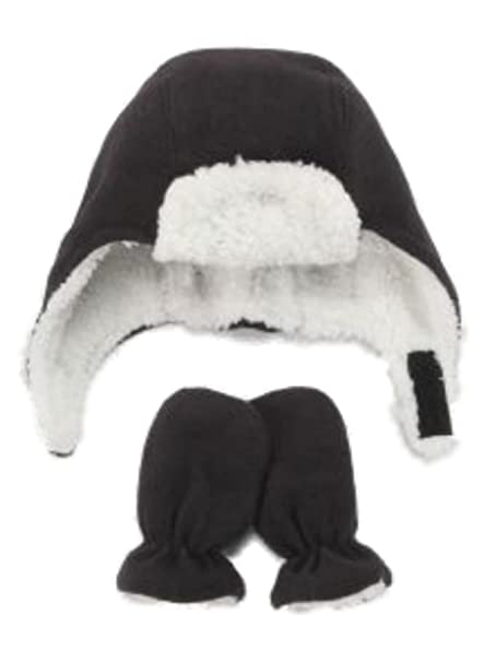 Nice Caps Infant Toddler Boys Black Fleece Trapper Hat Mittens Set Aviator  2-4T f9847eec1b5