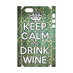 DDOUGS Keep Calm and Drink Wine Best Cell Phone Case for Iphone 5,5S, Custom Iphone 5,5S Case