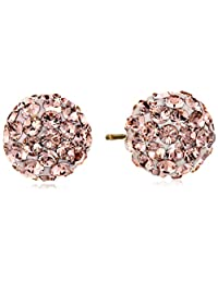 14k Yellow Gold with Swarovski Crystal Elements Button Stud Earrings