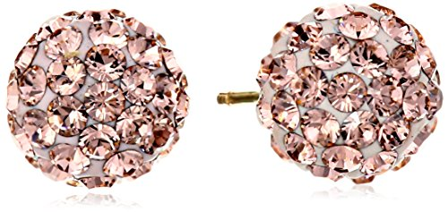 14k Yellow Gold Rose Swarovski Elements Crystal Button Earrings (14k Gold Yellow Rose)