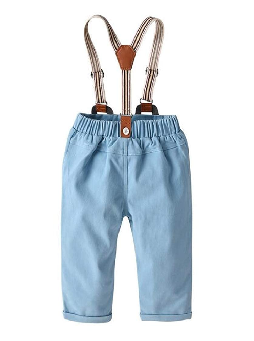 Etecredpow Boys Adorable Pure Color Elastic Waist Suspender Harem Pants