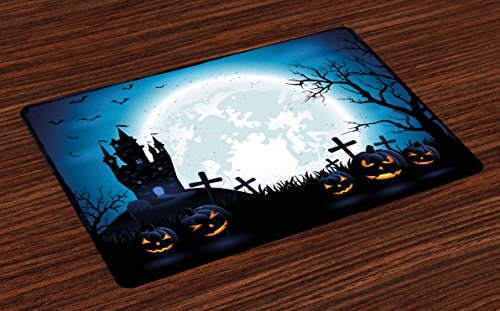 Ambesonne Halloween Place Mats Set of 4, Spooky Concept with Scary Icons Old Celtic Harvest Figures in Dark Image Holiday Print, Washable Fabric Placemats for Dining Room Kitchen Table Decor, Blue