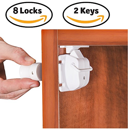 Safety4u Safety Baby Magnetic Cabinet Lock- 8 Locks + 2 Keys, Unique Super Strong Magnet To Child Proof For Cabinets, Drawers- 3m Adhesive & Installation Tool - No Tools or Drill, Free 8 Outlet Covers