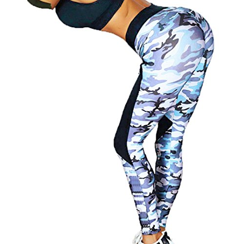 Leggings, Women Sexy Skinny High Waist Yoga Fitness Sports Print Ankle-Length Pants (Camouflage, S)