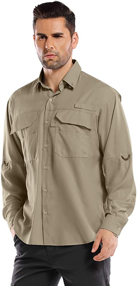 Men's Outdoor UPF Long Sleeve Hiking Fishing Quick Dry Sun Protection Shirts