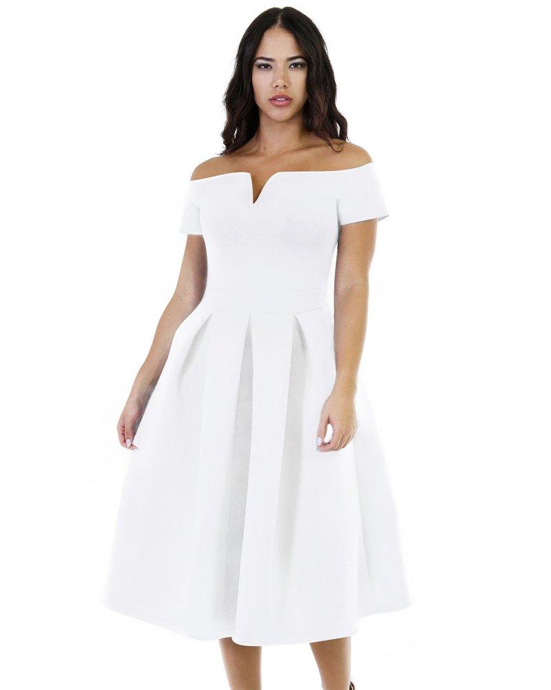 Lalagen Women's Vintage 1950s Party Cocktail Wedding Swing Midi Dress White L