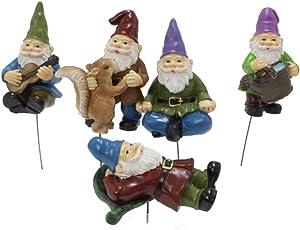 kekafu 5 Pcs Miniature Gnome Figurines Mini Gnomes Fairy Garden Accessories Gnomes Ornaments Dwarfs Statue Micro Landscape Decoration Children Gifts for Home Cake Decoration Outdoor Small Ornaments