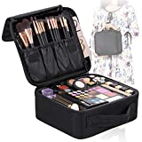 Valdler Makeup Bag Portable Cosmetic Organizer With Removable Divider Water Proof Multifunction Black Medium