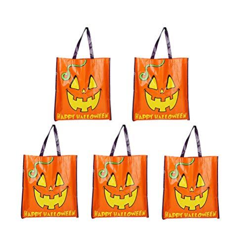 Halloween Advertising Campaigns (5pcs Non-Woven Bag Coated Halloween Shopping Handbag Halloween Folding Tote Advertising Campaign)