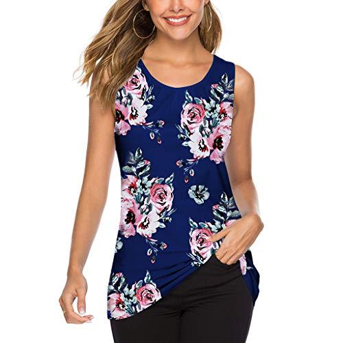 Anewoneson Womens Scoop Neck Sleeveless Retro Floral Print Tops Summer Sexy Blouse Casual Blouson Slimming Tunic Tank Shirt Dark Blue ()