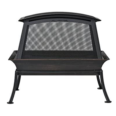 CobraCo FB6200S Steel Fireplace Fire Pit,Black - Features steel risers that allow constant air flow under fire Fireplace measures 32-inch long by 22-inch wide by 24-inch high Sturdy steel stand securely elevates base for easy viewing - patio, outdoor-decor, fire-pits-outdoor-fireplaces - 51EoqgQY2RL. SS400  -