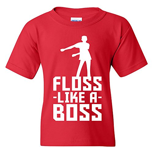 Floss Like A Boss - Flossin Dance Funny Emote Youth T Shirt - Large - Red