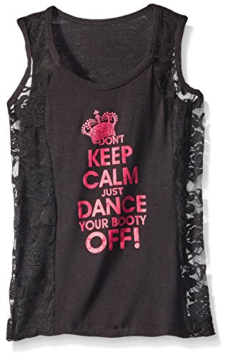 Gia Mia Dance Big Girls Don't Stay Calm Tank, Black, Small by Gia Mia