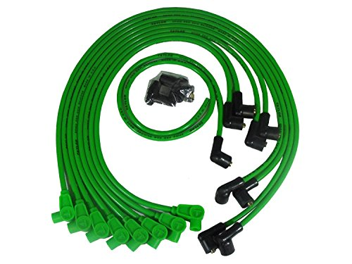 Taylor Cable 76527 Spiro Pro Ignition Wire Set Race Fit 90 deg. Plug Boot Hot Lime Over Valve Covers Spiro Pro Ignition Wire (Plug Wire Set 90 Boots)
