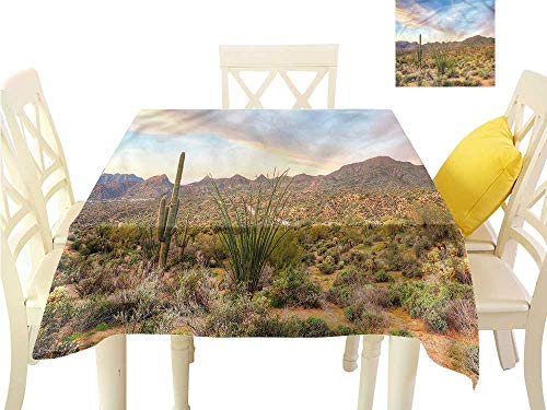 WilliamsDecor Dinning Table Covers Saguaro,Phoenix Desert with Dunes Waterproof Table Cloth W 50