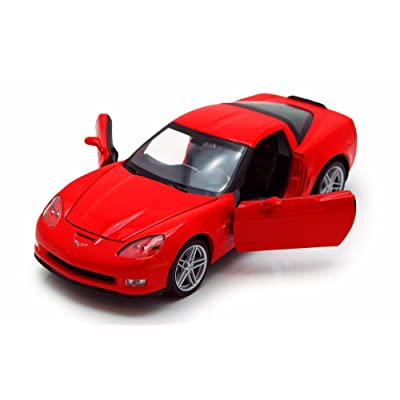 Welly 2007 Chevy Corvette, Red 22504 - 1/24 Scale Diecast Model Toy Car, but NO Box: Toys & Games