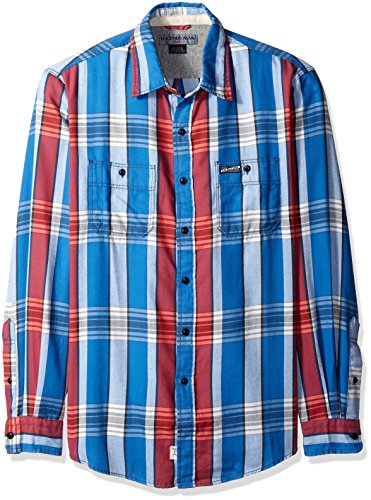 U.S. Polo Assn. Mens Long Sleeve Slim Fit Brushed Twill Plaid Sport Shirt