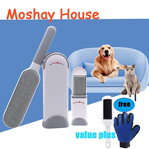 (MOSHAY Pet Hair Remover Brush - Fur & Lint Removal Brush with Self-Cleaning Base - Dog & Cat Hair Remover for Furniture, Couch, Carpet, Bed, Car Seat, Clothing -Animal Fur&Dust Removal Tool)