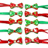 Christmas Dog Bow Ties, Adjustable Pet Cat Dog Necktie Bowtie with Gold Bell - Cute, Funny, Fashional, Fashional Dog Bowknot Collar Dog Grooming Accessories for Small Large Dogs Cats (① 10PCS Christmas Pet Dog Bow Tie)