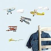 RoomMates RMK1197SCS Vintage Planes Peel & Stick Wall Decals, 22 Count