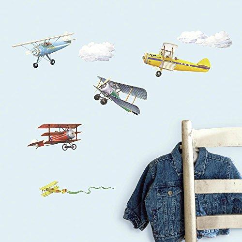 RoomMates RMK1197SCS Vintage Planes Peel Stick Wall Decals 22 Count