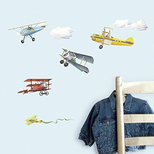 (RoomMates Vintage Planes Peel and Stick Wall Decals )