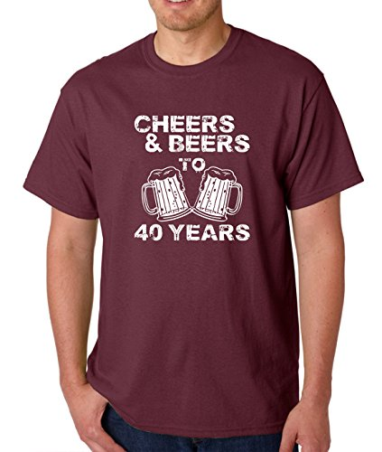 AW Fashions Cheers & Beers to 40 Years - 40th Birthday Present Gift for Fun Forty Year Old - Men's T-Shirt (Large, Maroon) 40 Years Old T-shirt
