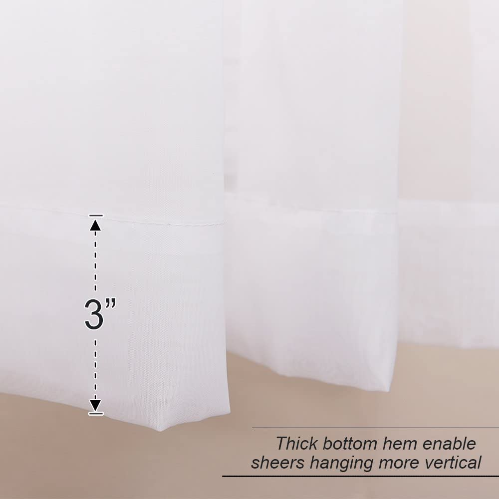 RYB HOME White Sheer Curtain Valance Drapes Half Window Dressing Panels Tiers for Kitchen//Bathroom//Living Room 2 Pcs 60 inch Wide x 36 inch Long Each Panel