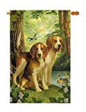Breeze Decor PT-H-110068-IP Beagles and Duck House Flag, 28″ x 40″, Multicolor