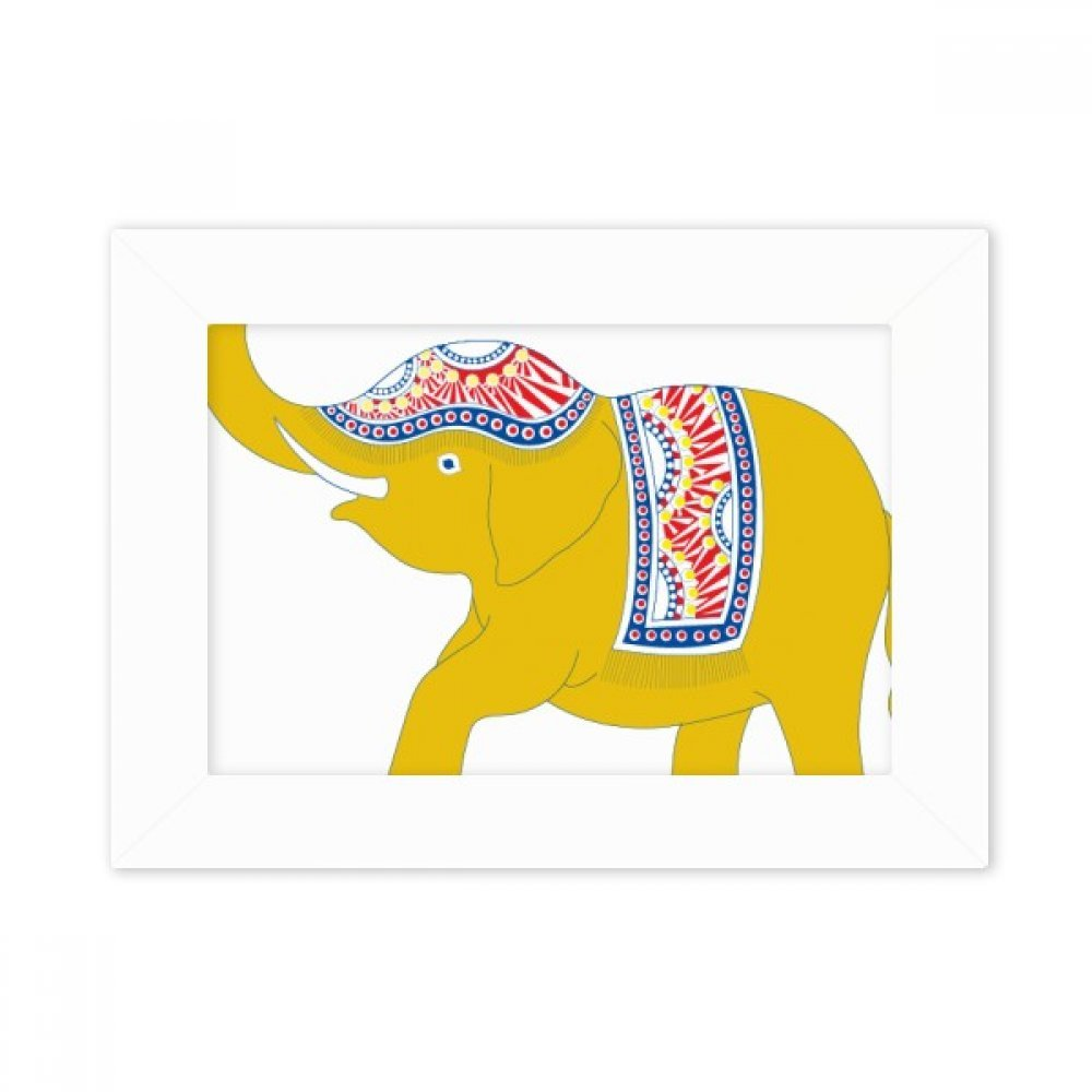 DIYthinker Thailand Yellow Elephant Shield Desktop Photo Frame White Picture Art Painting 5x7 inch