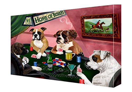 House of Boxers Dogs Playing Poker Canvas (11x14) (Boxers Poker)