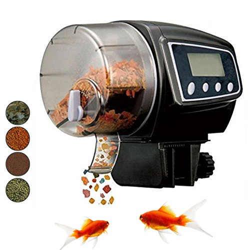 Xubox Automatic Fish Feeder, Adjustable Feeding Dose and Frequency Digital Fish Feeder Aquarium Food Dispenser Timer for Fish Tank, Turtle Pond, 100 ML Large Capacity For Vacation, Batteries Included
