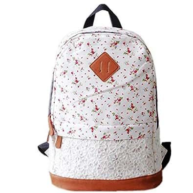 HITOP bolso mochila de gran capacidad moda geométrico flor mochilas para adolescentes mujer --blanco