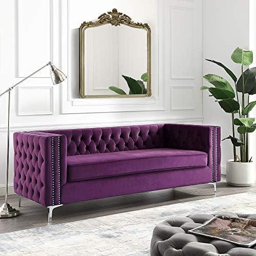 Giovanni Purple Velvet Sofa