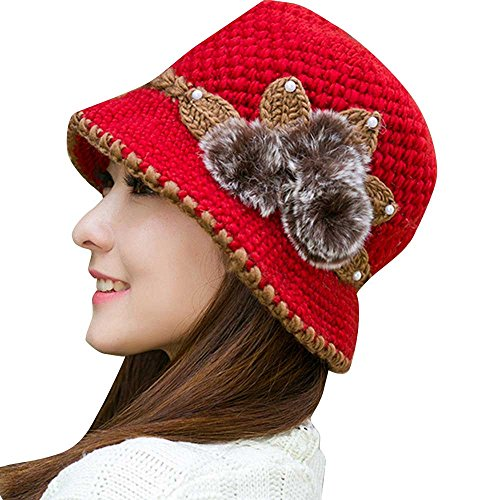 iYBUIA Special Women Lady Winter Warm Crochet Knitted Flowers Decorated Ears Hat(Red,One Size)