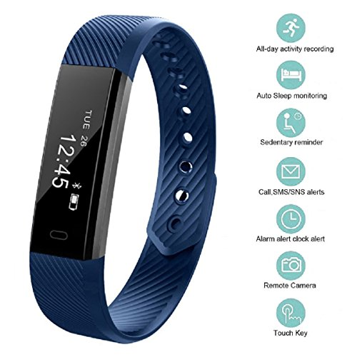 Fitness Tracker bossblue Smart Fitness Watch Touch Screen Activity Health Tracker Wearable Pedometer Smart Wristband Blue