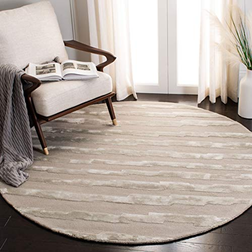 Safavieh Soho Collection SOH519A Handmade Grey Premium Wool Round Area Rug 6 Diameter