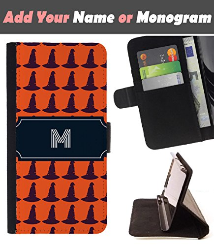 [ Customize Your Case ][ LG G STYLO 2 / G STYLUS 2 ] Personalized Monogram Name Leather Wallet Flip Cover - Halloween Witch Hat ()