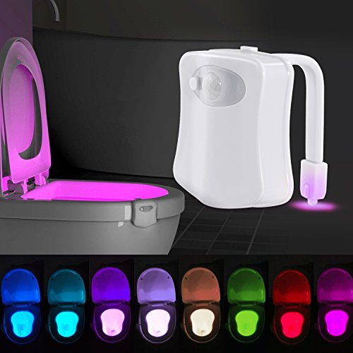 ihomy Toilet Night Light, Motion Activated Toilet Night Light, Two Modes with 8 Color Changing - Motion Sensor LED Washroom Night Light - Fits Any -