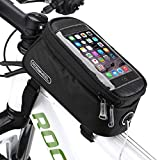 Bicycle Bike Frame Front Tube Beam Bag Transparent PVC Cycling Pannier Pouch Basket for 5.5 inch Mobile Phone Screen touch Holder -Black