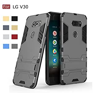 LG V30 Case, Wellci Armor Dual Layer Defender Protective Case Hybrid Bumper Phone Cover with Kickstand For LG V30 (Grey)