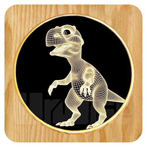 Dinosaur 3D Night Lights,Wooden Lamp for Kids Boys, Wood Photo Frame Desk Lamps,Warm White LED Table Lamp Acrylic Flat USB Charging, Home Decor Nightlight Cool Gift Toy for Kids Xmas Birthday