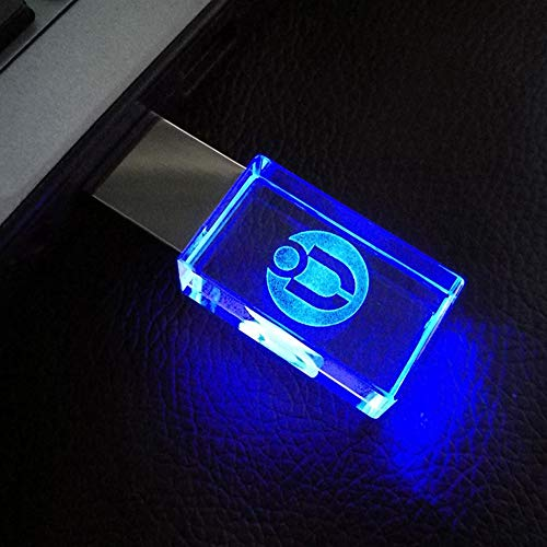 USB Flash Drive Crystal Thumb Drive flashdrive Glass Transparent USB2.0 Pendrive LED Light Memory Stick (32GB, Transparent)