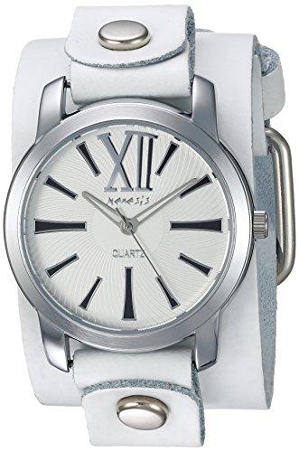 White Leather Cuff Watch - Nemesis Women's WGB065W Exclusive Collection Roman White Leather Cuff Watch