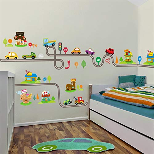 Amazon.com: JEWH Cartoon car Bus Highway Track Wall Stickers for Kids Rooms children39;s Bedroom Living Room Decor Wall Art Decals boy39;s Gift: Home & ...